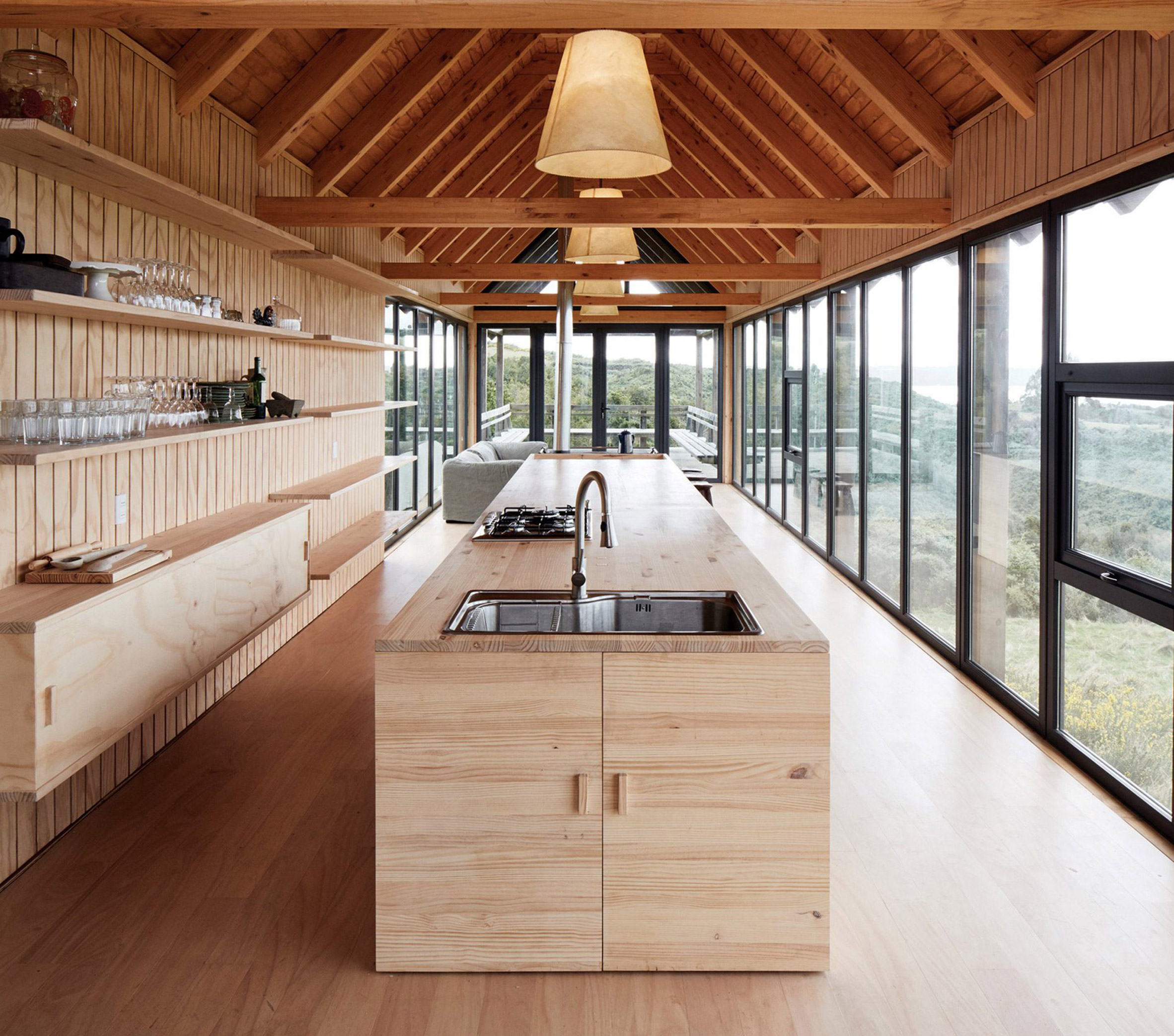 Interior of house on stilts in Chile