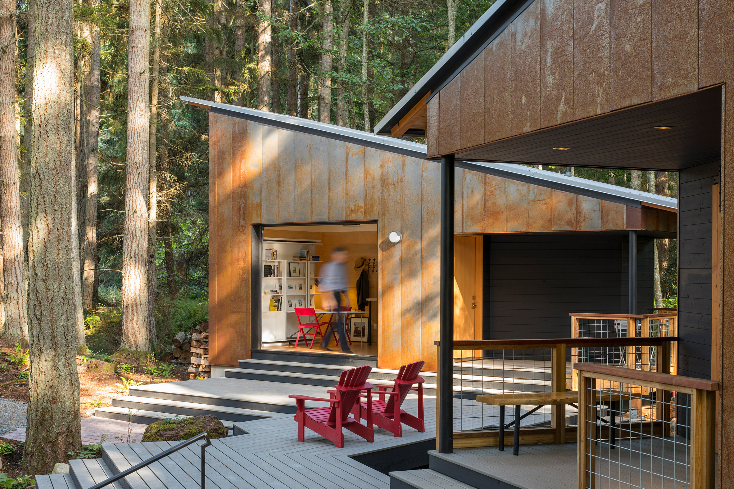 Corten steel clads Little House/Big Shed in Washington by David Van Galen