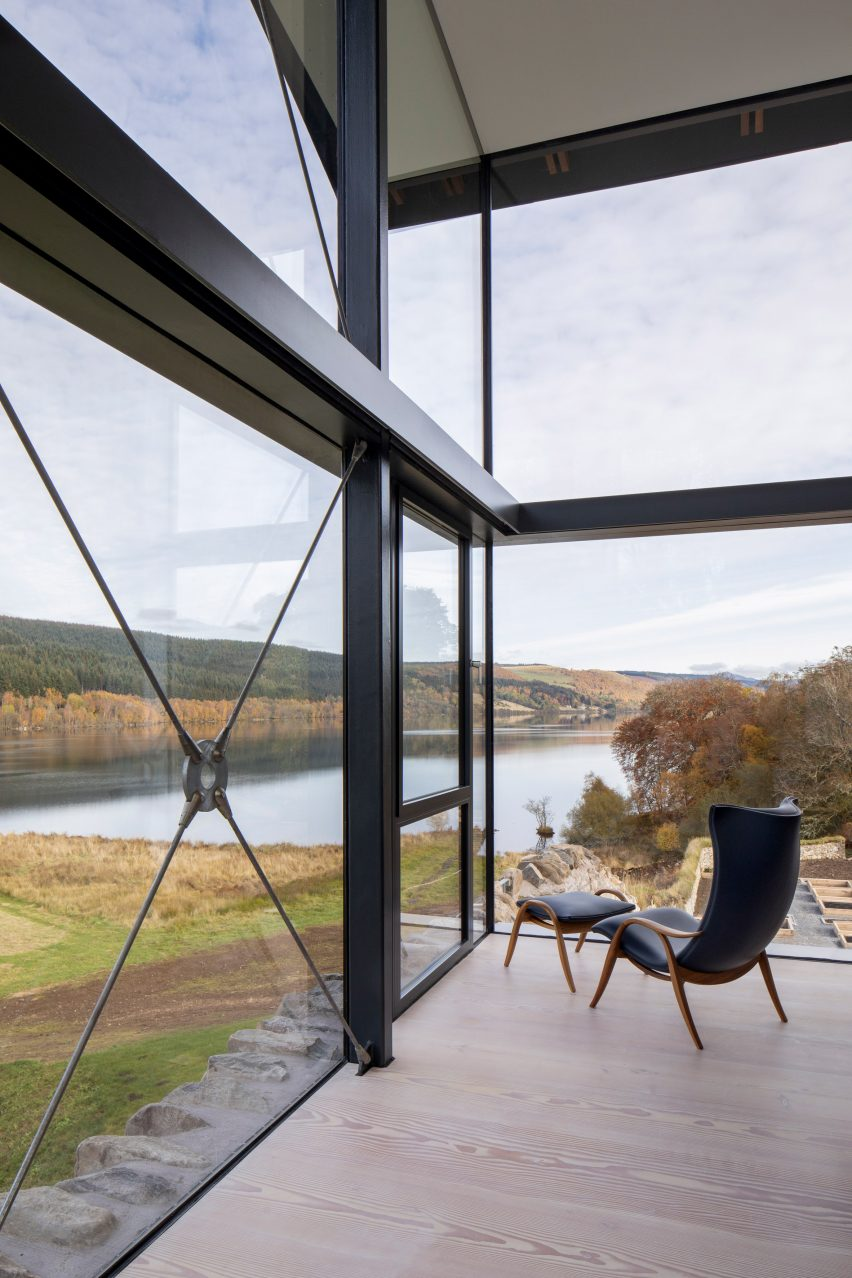 Glass walls in Scottish house