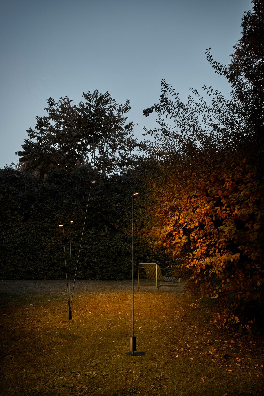 Alessandro Zambelli's Flia outdoor light as a single- and three-stemmed version