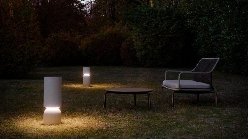 Two Nui bollard outdoor lights by Meneghello Paolelli Associati for Luceplan