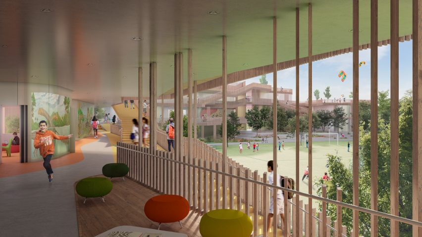 A visual of a school with wooden balconies