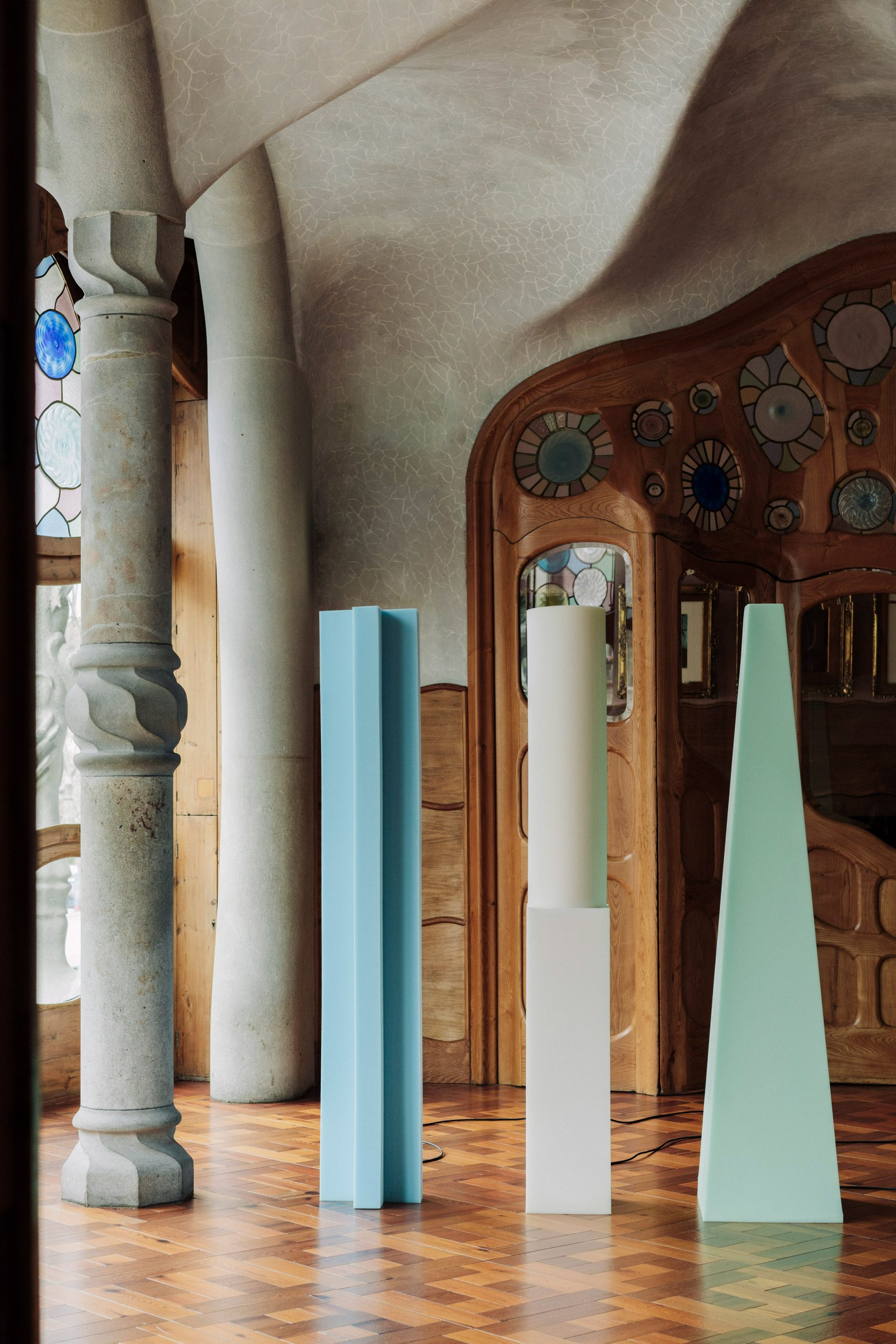 Blue, green and white Totem lights by Max Enrich
