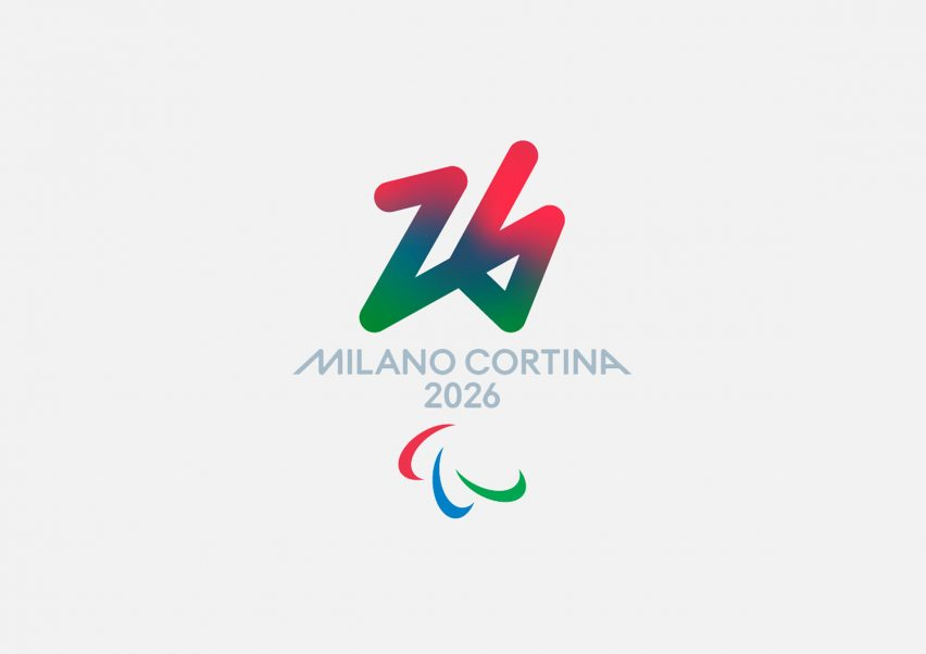 The paralympic logo for the 2026 Winter Olympic Games has a red, blue and green colouring
