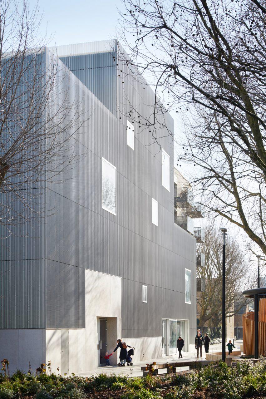 Anodised aluminium-clad building in London