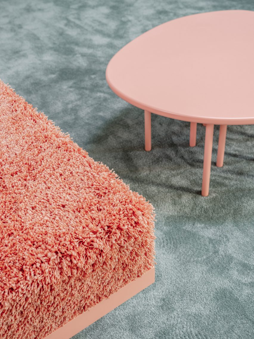 Coral table and shaggy bench in Qari Qris and Moonswoon showroom