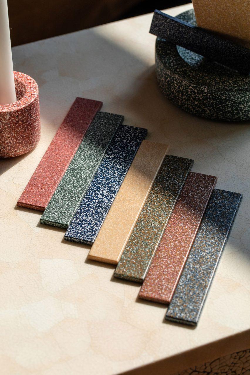 Speckled fragments of eggshell form the CArrelé tiles