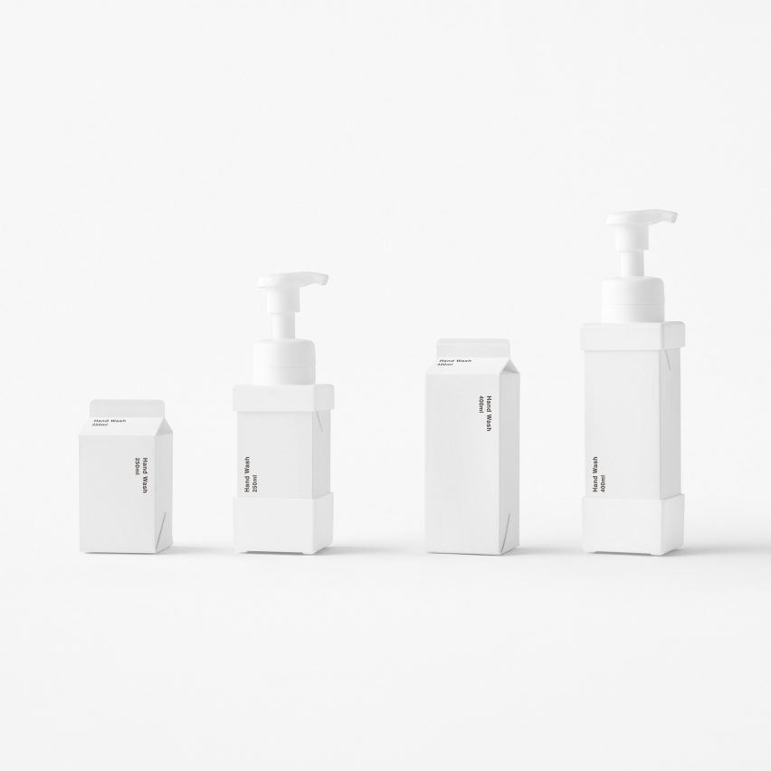 Nendo creates paper soap dispensers that look like milk cartons