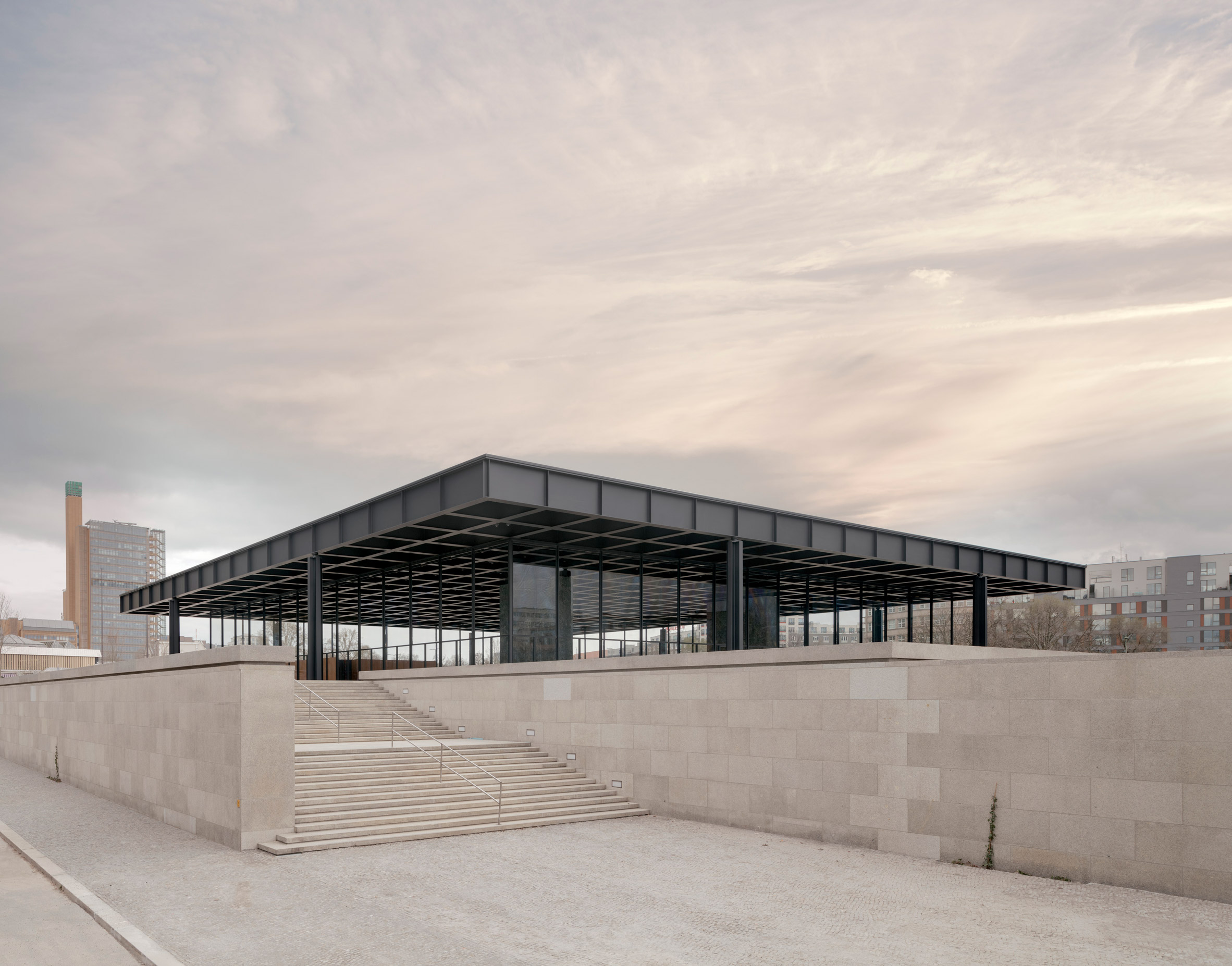 A steel and glass gallery by Mies van der Rohe