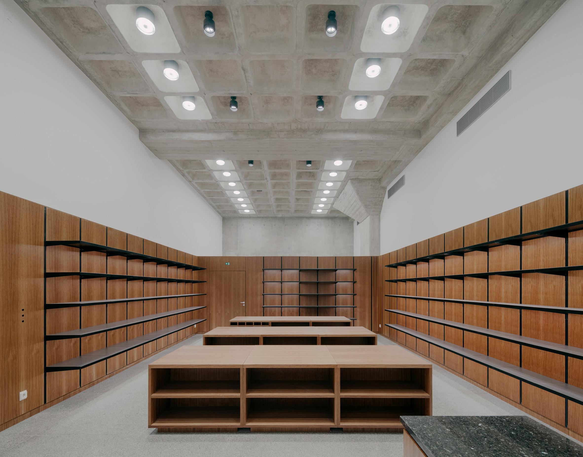 A storage room inside Neue Nationalgalerie