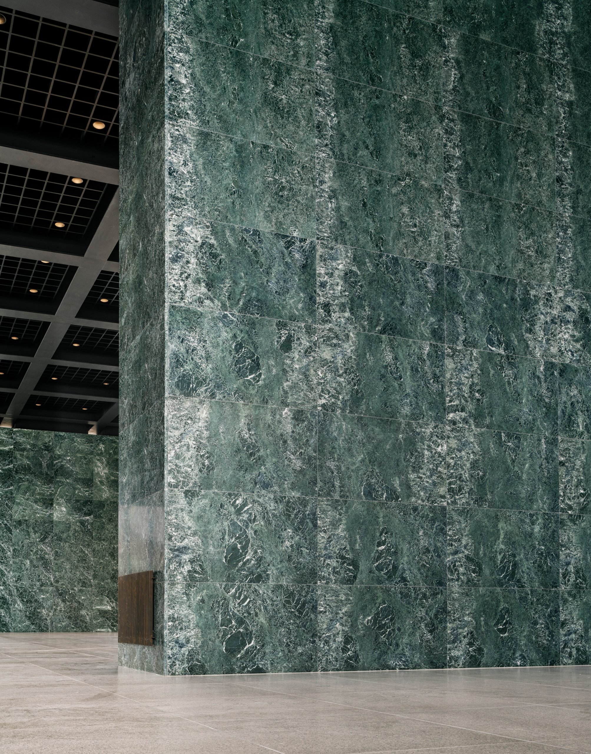 A marble-clad wall