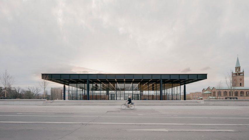 A steel and glass pavilion by Mies van der Rohe