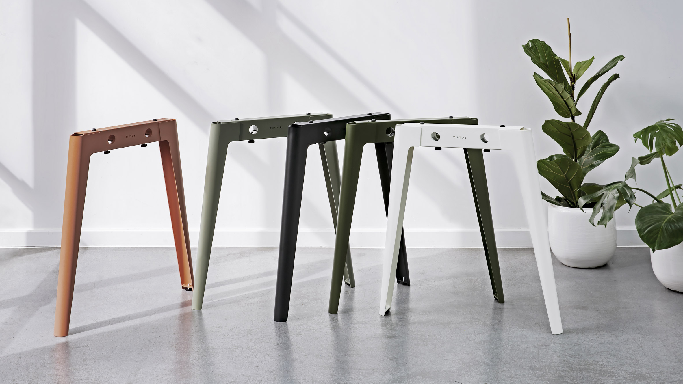 New Modern table legs in Cloudy White, Graphite Black, Rosemary Green, Eucalyptus Grey and Ash Pink