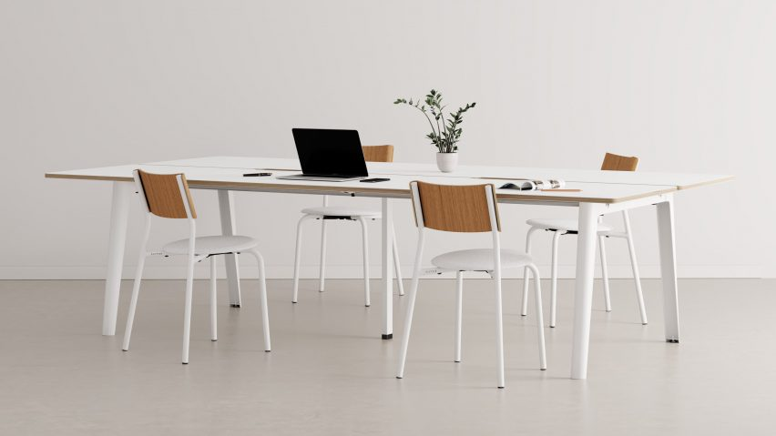 New Modern table with white legs and a wooden tabletop by Tiptoe