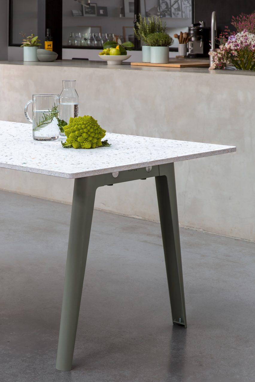 New Modern table with a recycled plastic top and eucalyptus green legs