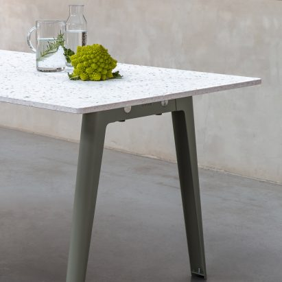 New Modern table with a recycled plastic top and eucalyptus green legs by Tiptoe