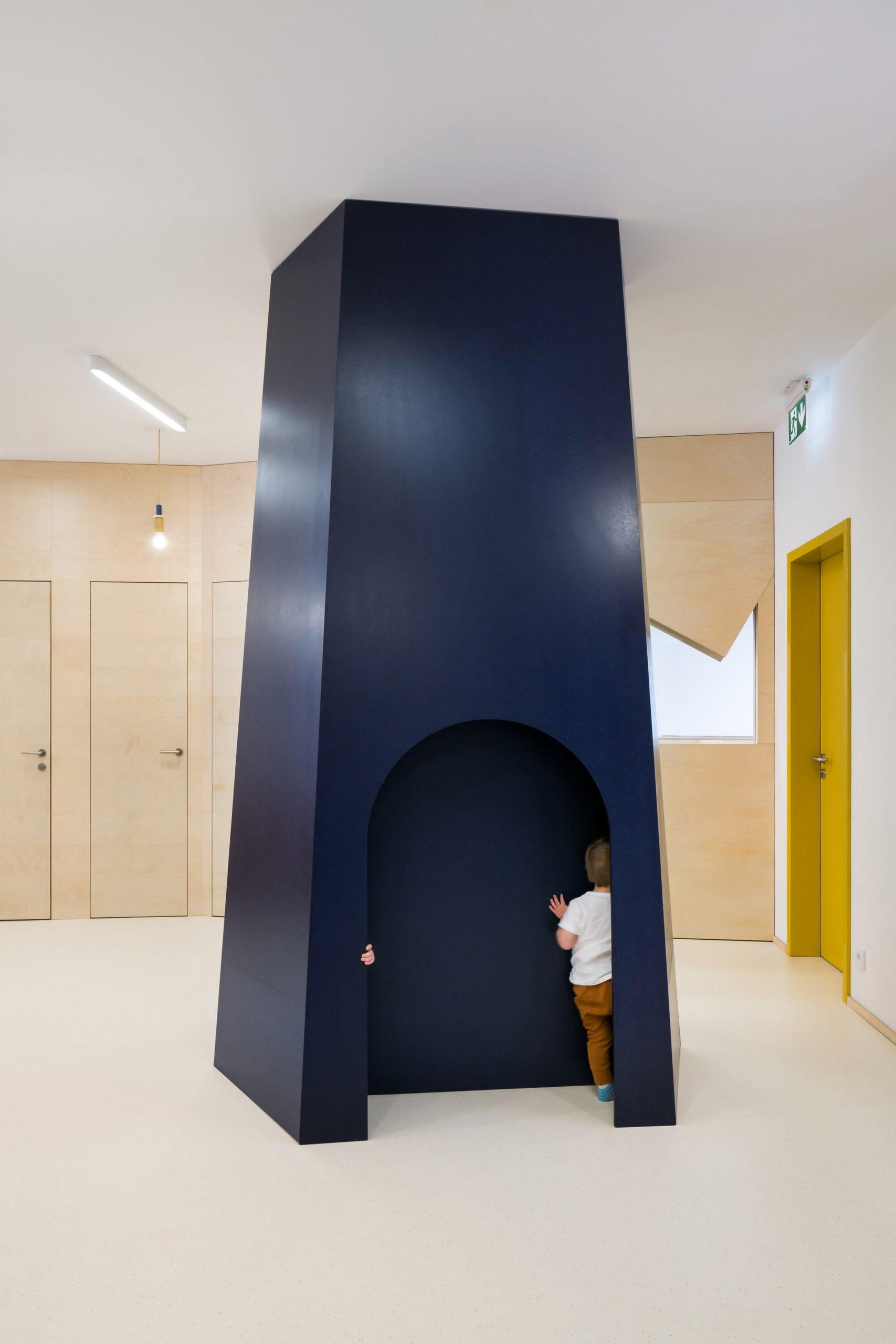 Wooden blue den in Malvína Day Nursery