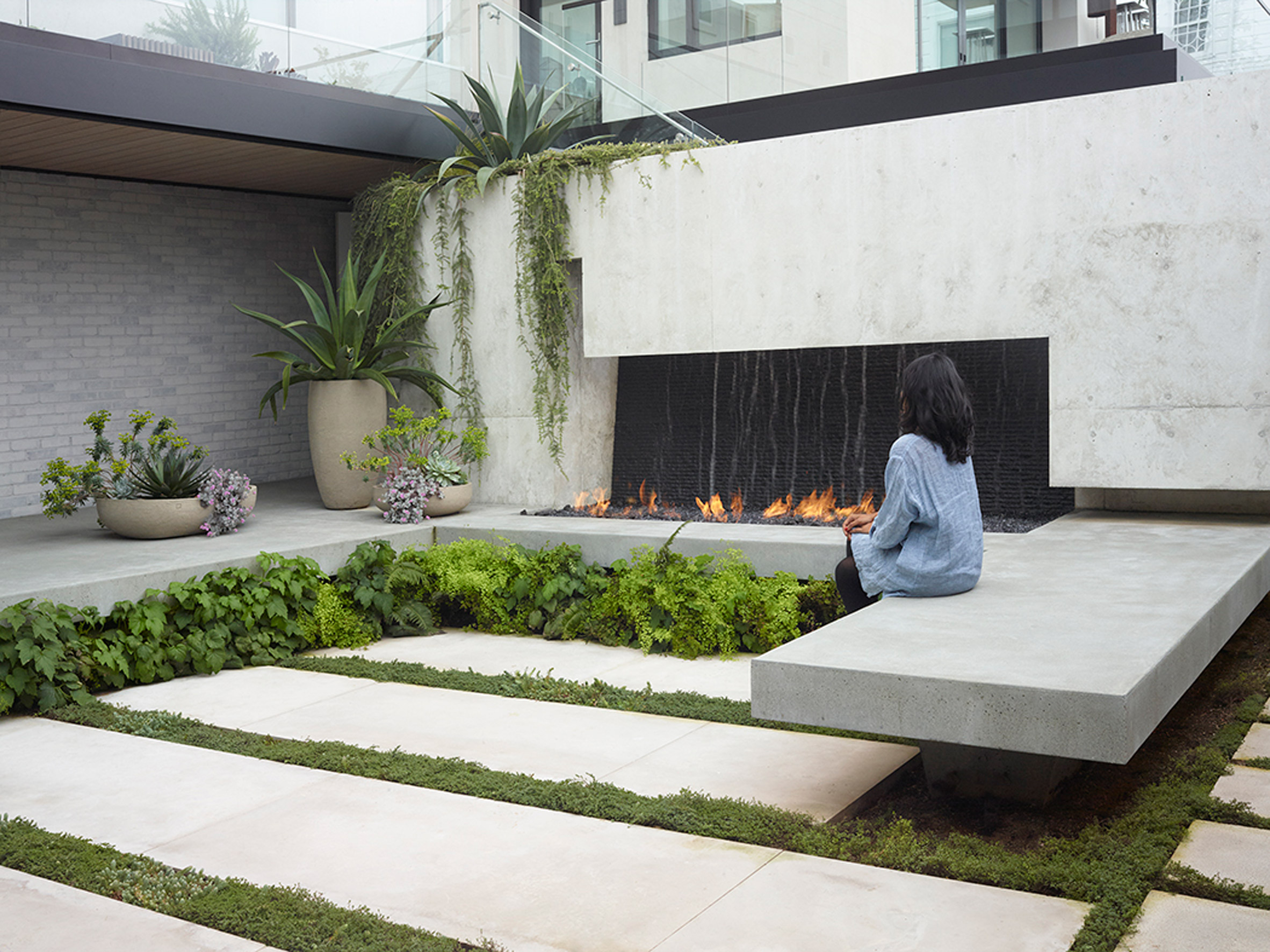 Outdoor fireplace at home in USA