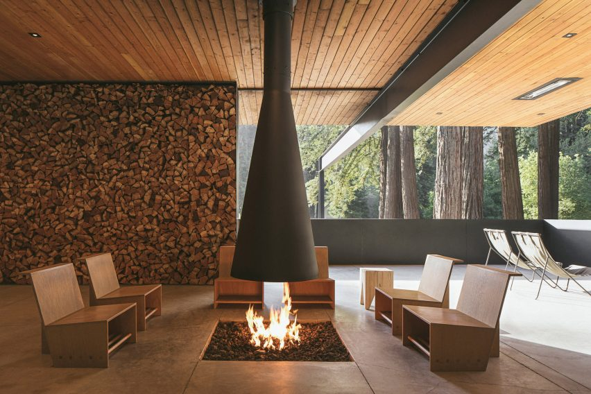 Covered fire place at glamping site in USA
