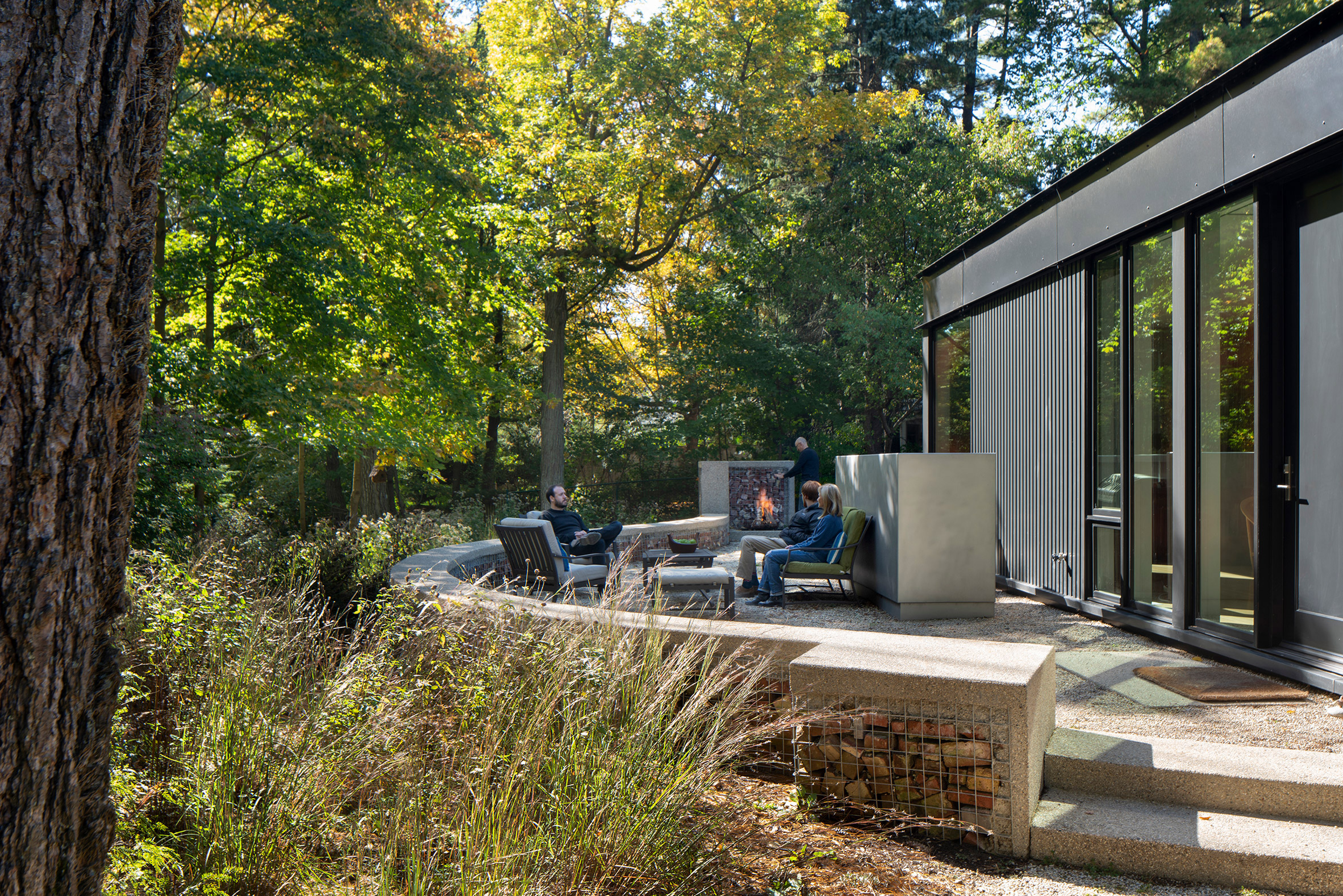 Outdoor seating area with fireplace