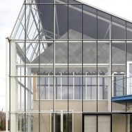 An office encased by a greenhouse