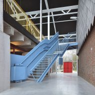 A statement blue staircase