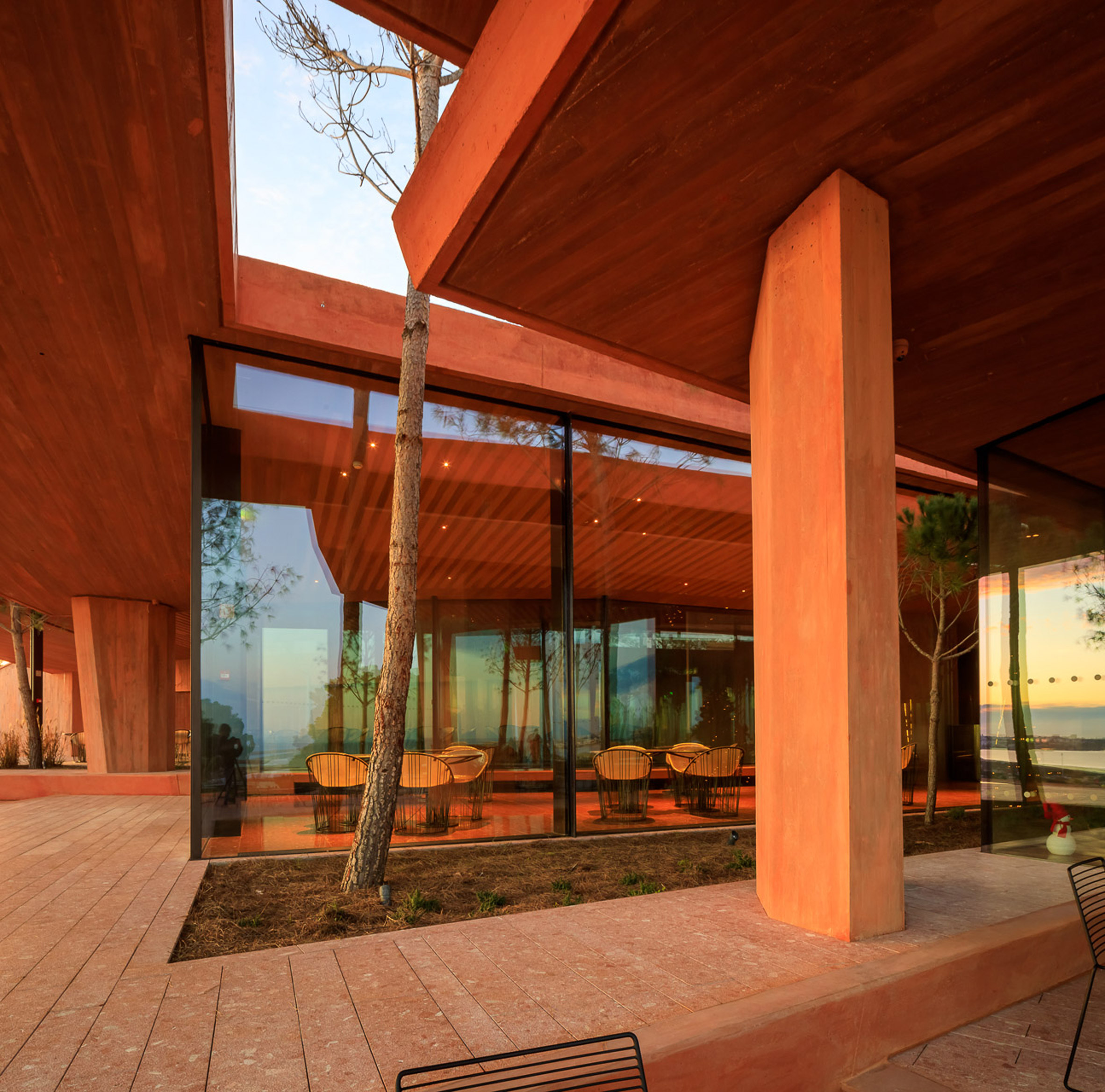 Terrace of Palmares Clubhouse by RCR Arquitectes
