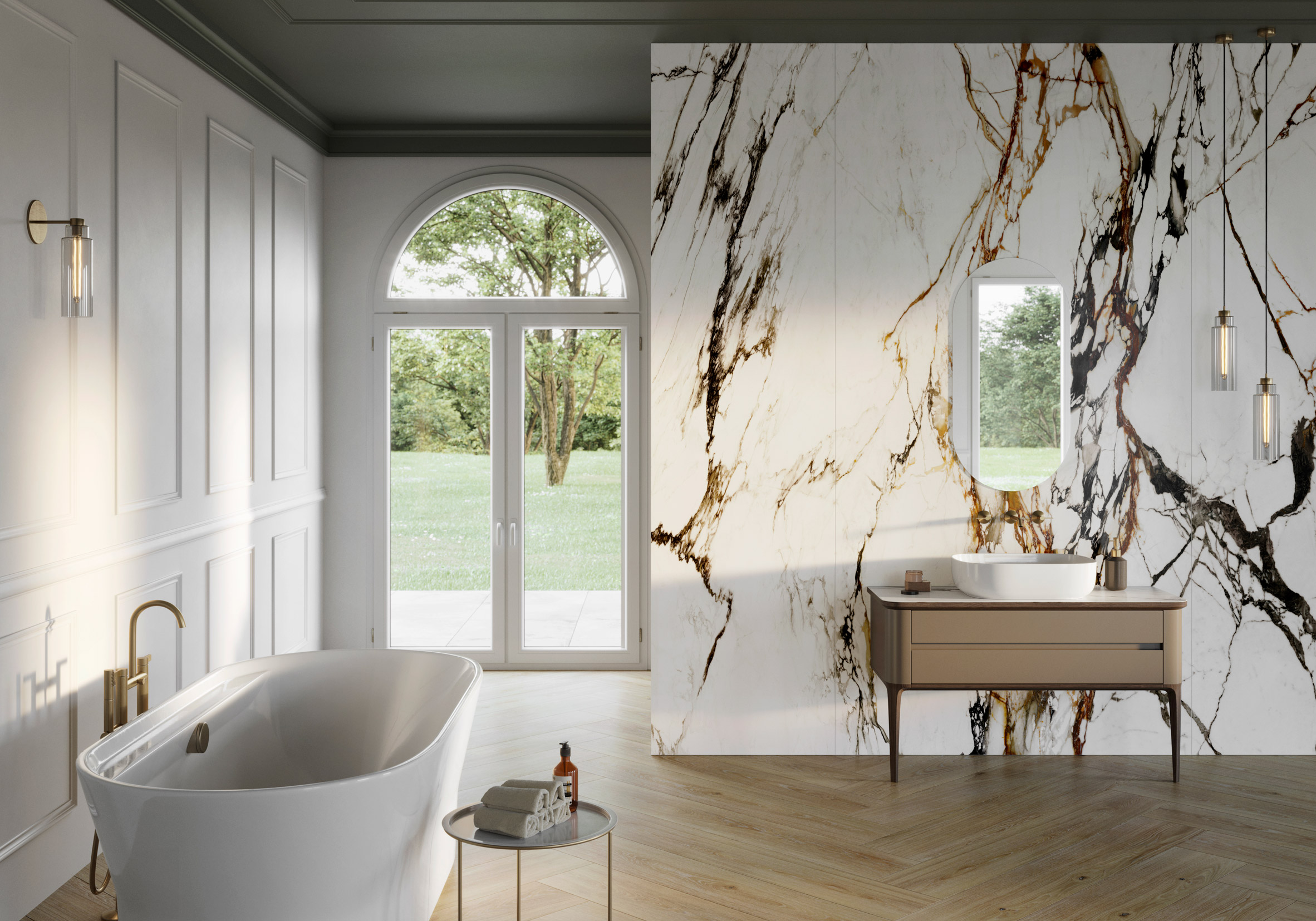 A white bathroom with marble-effect walls