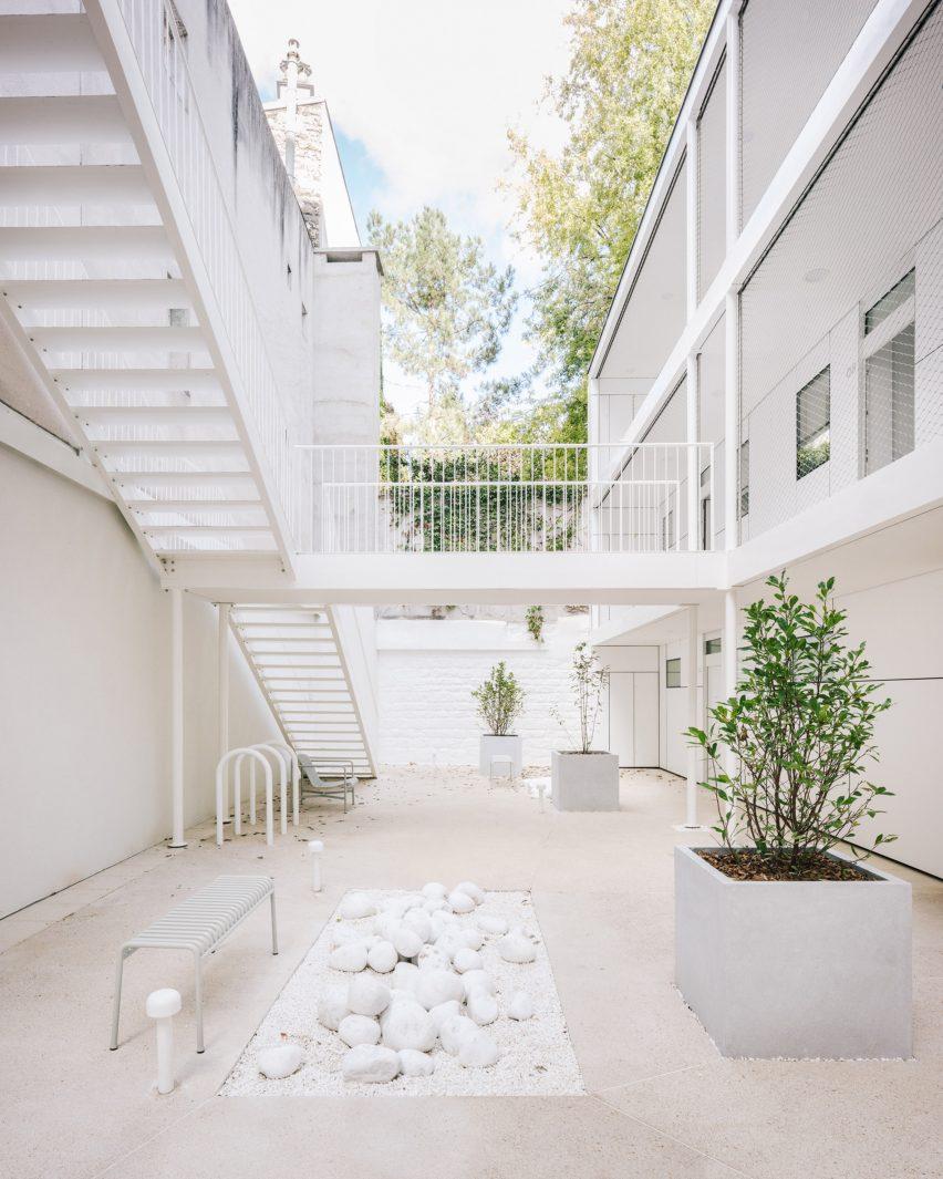 Interior courtyard of Paris apartment block