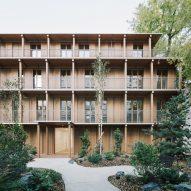 Exterior of wooden Paris apartment block