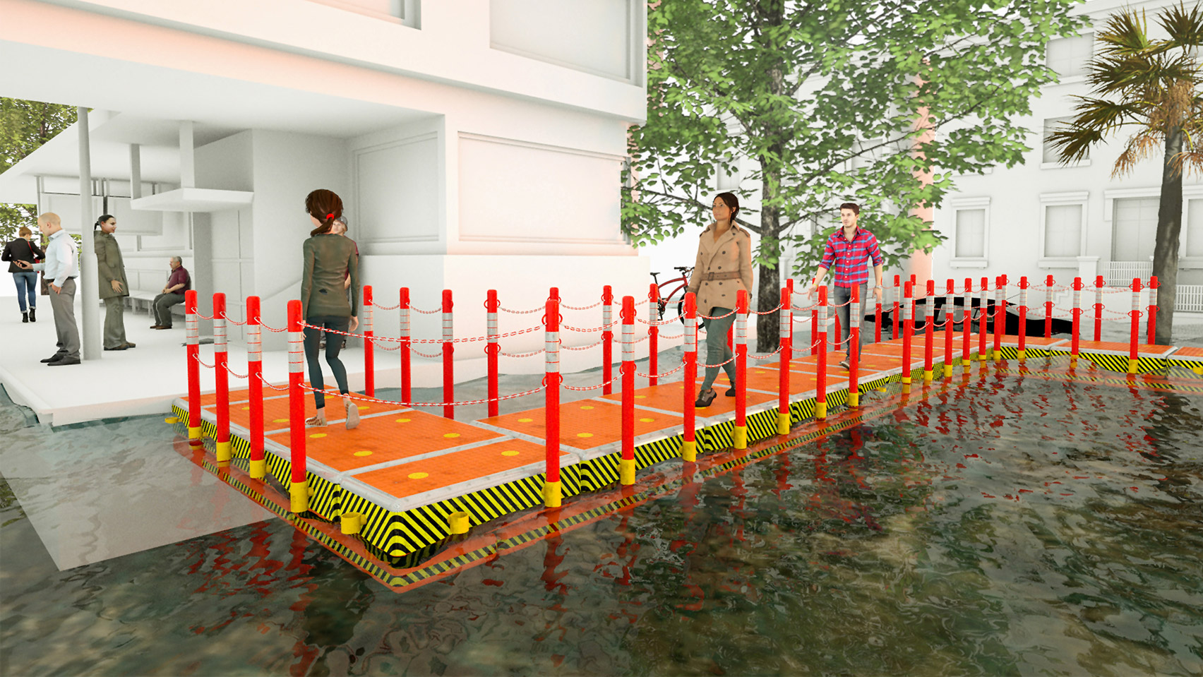 A visual of an emergency floating walkway for floods