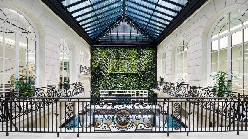 Kith Paris courtyard with green wall