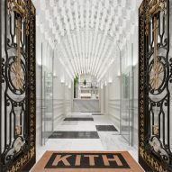 Snarkitecture adds Nike Air Max chandelier to Kith streetwear store in Parisian mansion