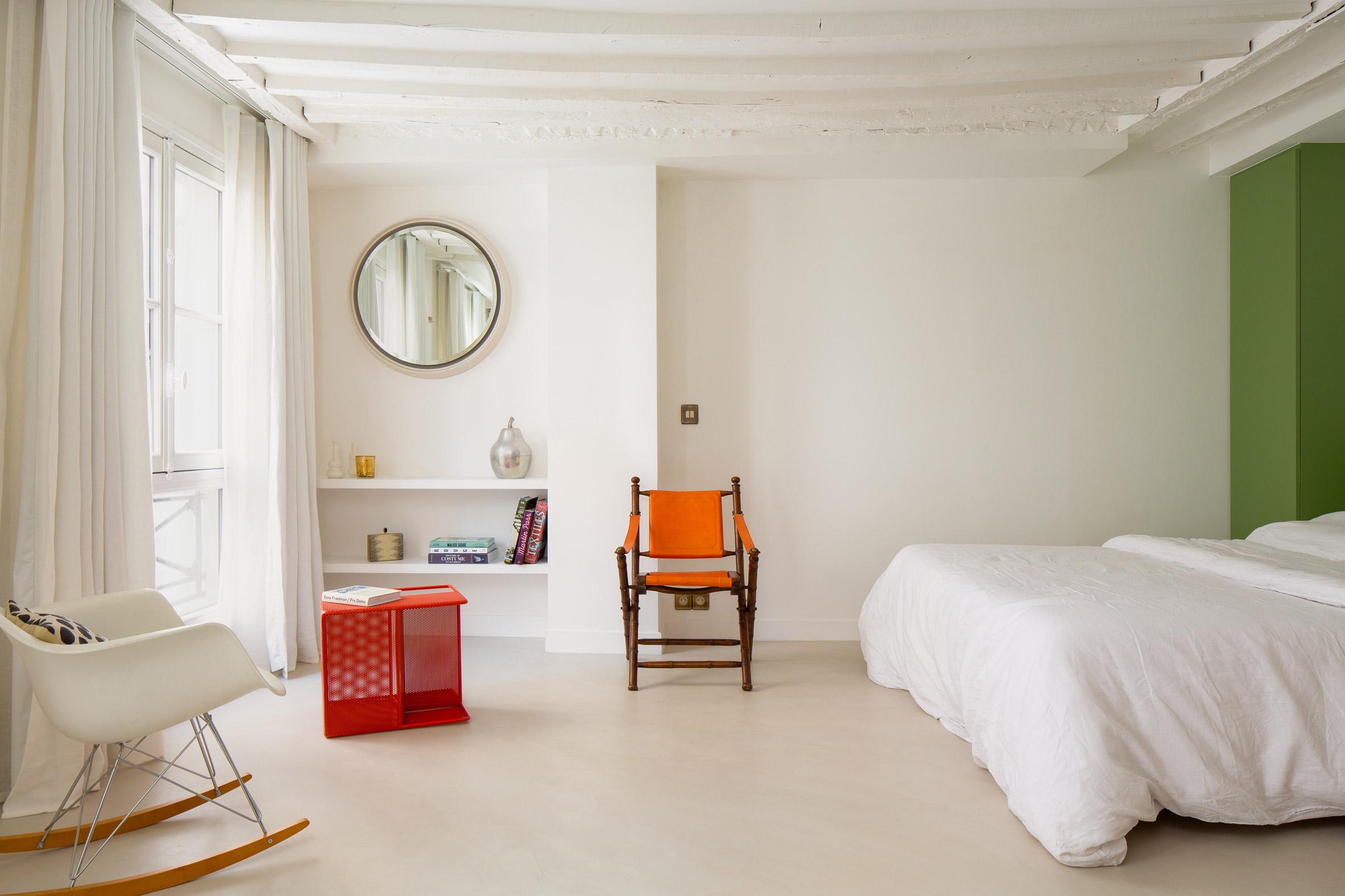 Beams in the ceiling were left exposed by Pierre-Louis Gerlier Architecte
