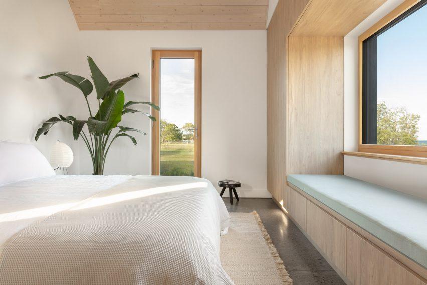 Minimalist light interiors in a bedroom