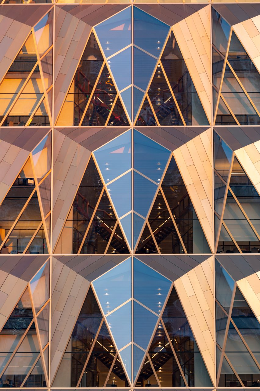 Copper-coloured cladding on office tower