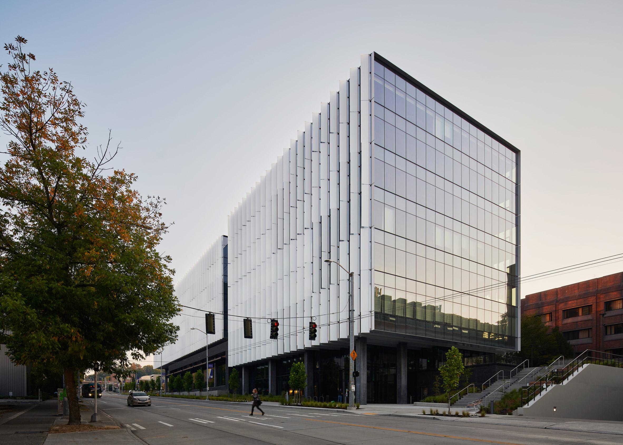 The Rosling Center has a glass facade