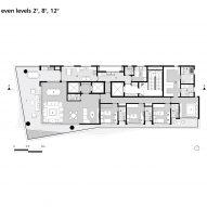 Floor plan: even levels, 2, 8, 12