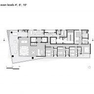 Floor plan: even levels, 4, 6, 10