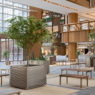 Trees in Xintiandi atrium by AIM Architecture