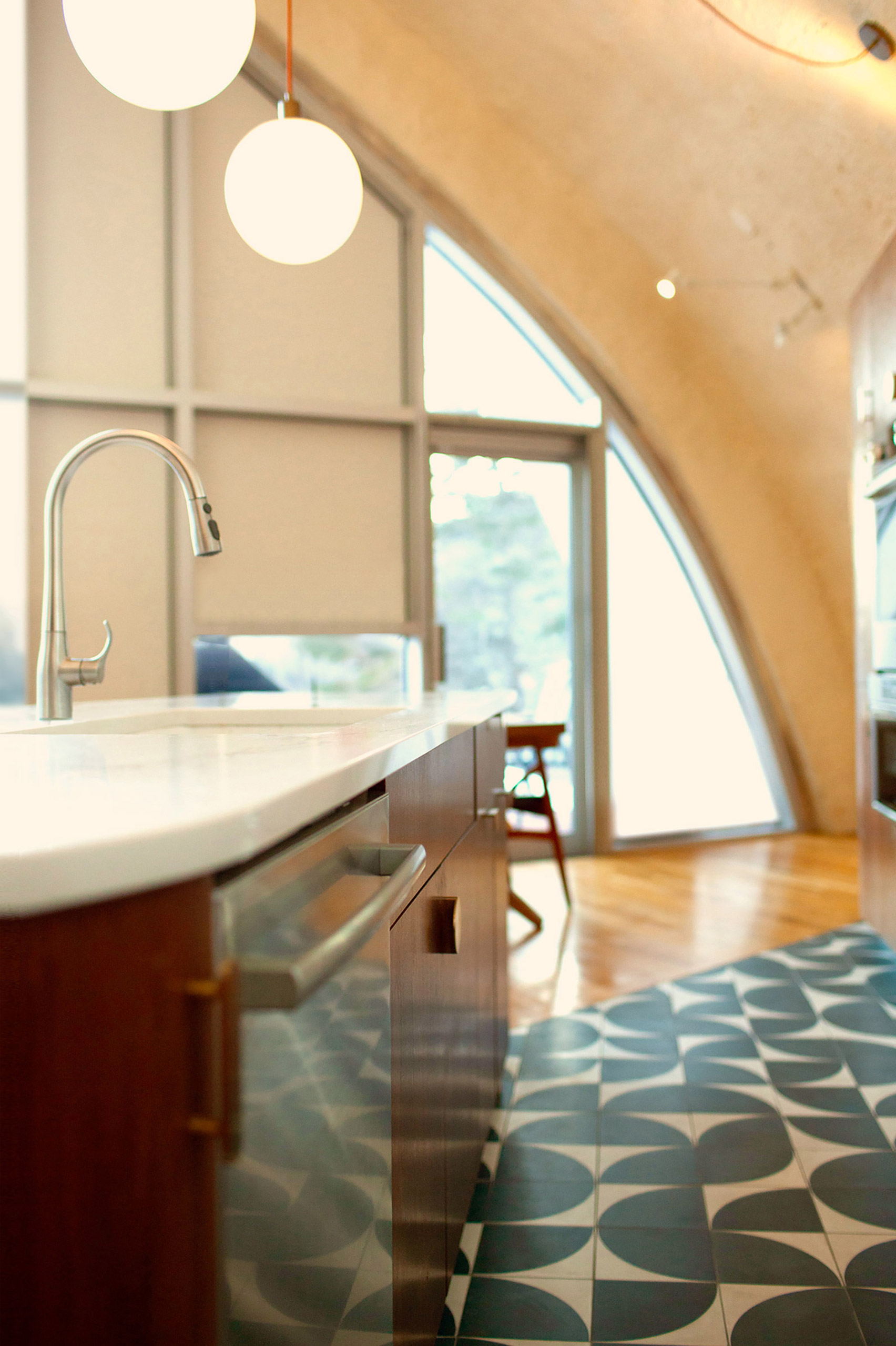 Ceramic tile kitchen floor of house in the Catskills