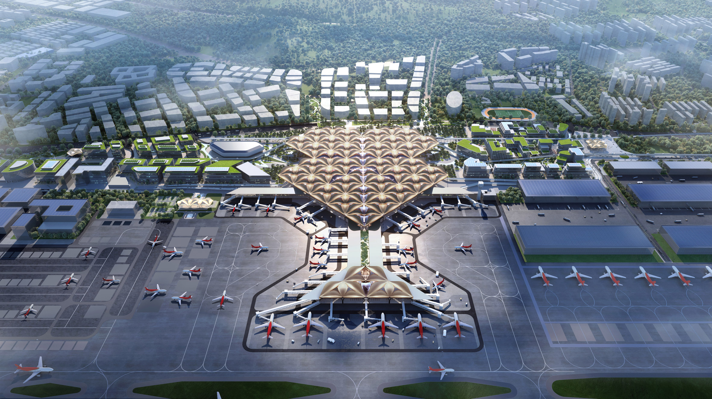 A visual of a new transport hub at Shenzhen Bao'an Airport