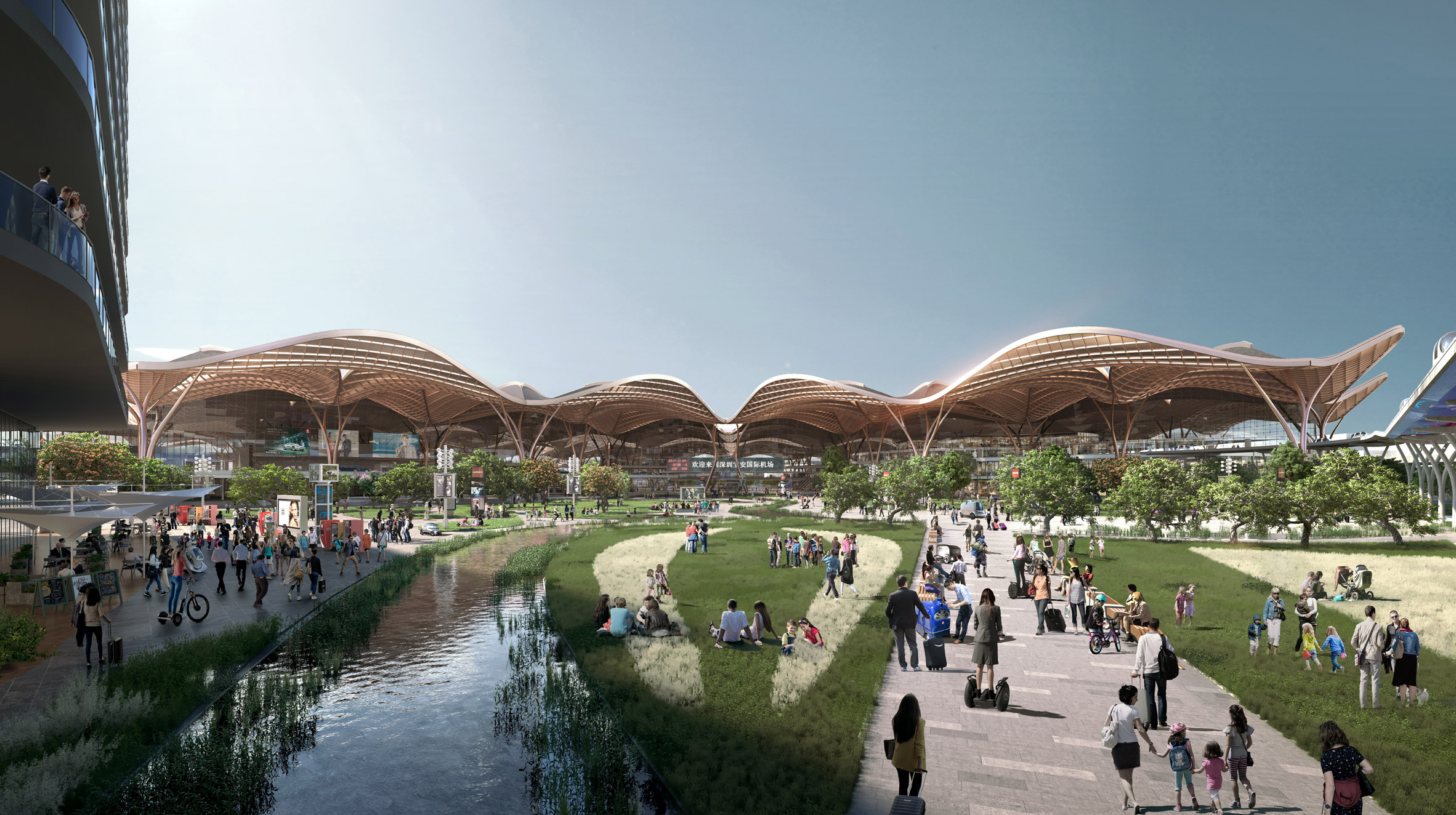 A visual of a transport hub in Shenzhen by Grimshaw