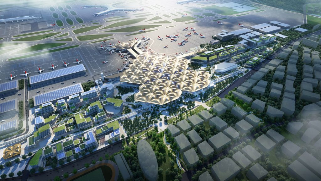 Grimshaw models Shenzhen airport transport hub on mangrove trees