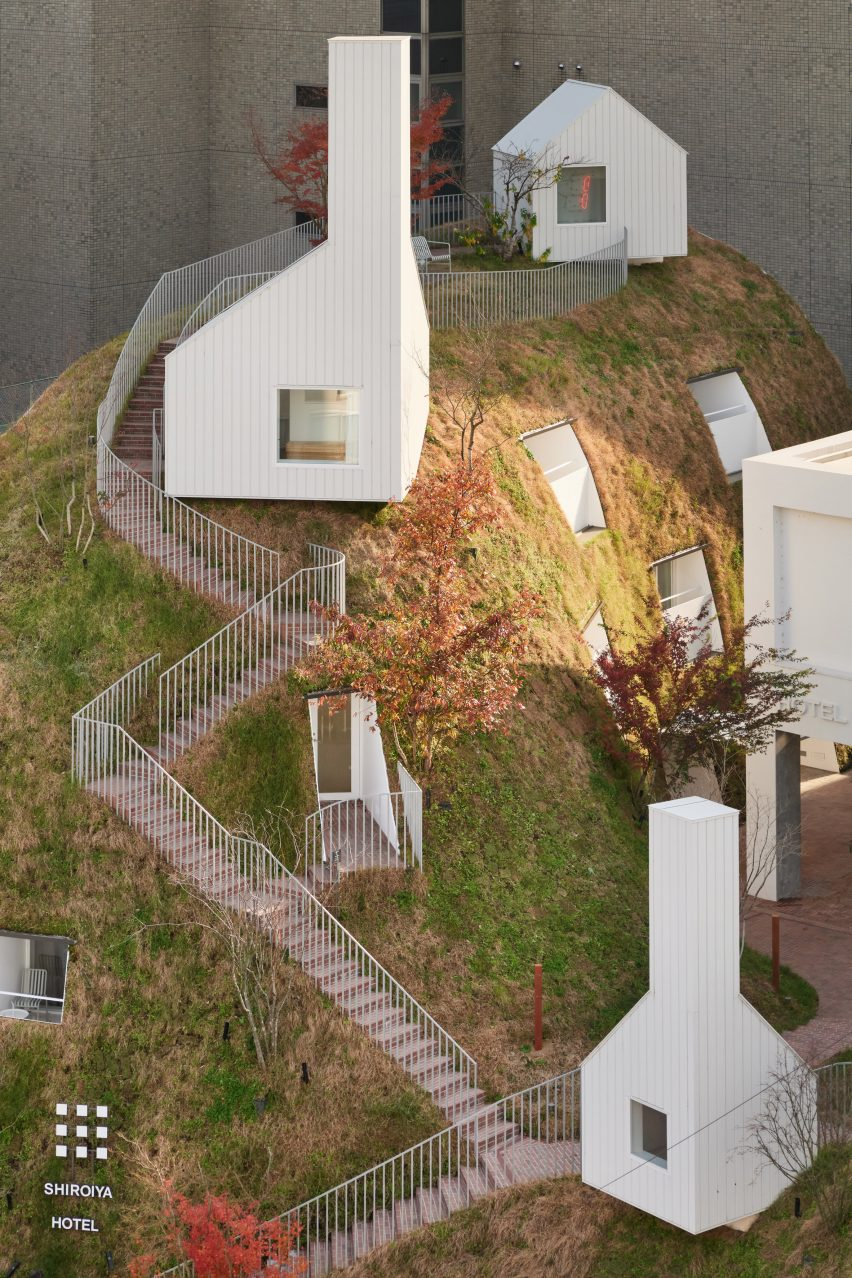 Grass hill in Japanese hotel
