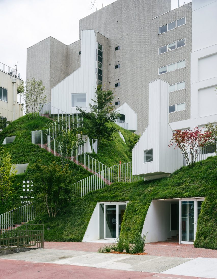 Hotel extension covered in grass