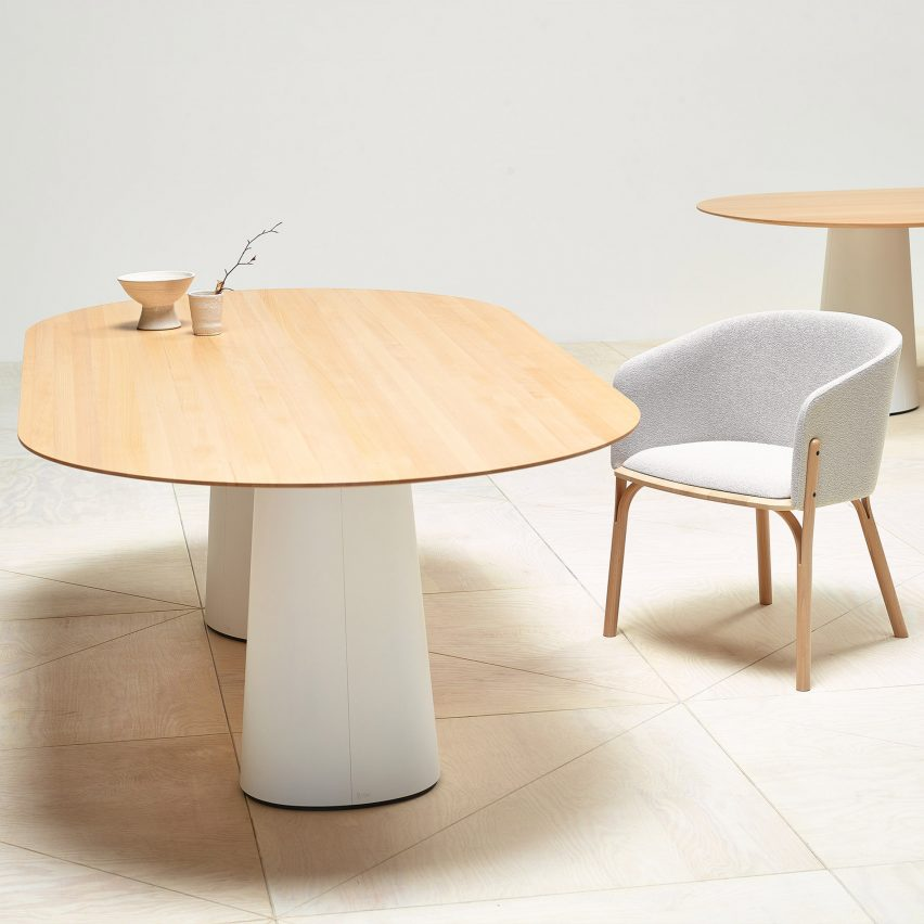 POV dining table with a white base