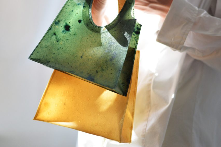 Small Sonnet155 bag in green and larger tote bag in yellow