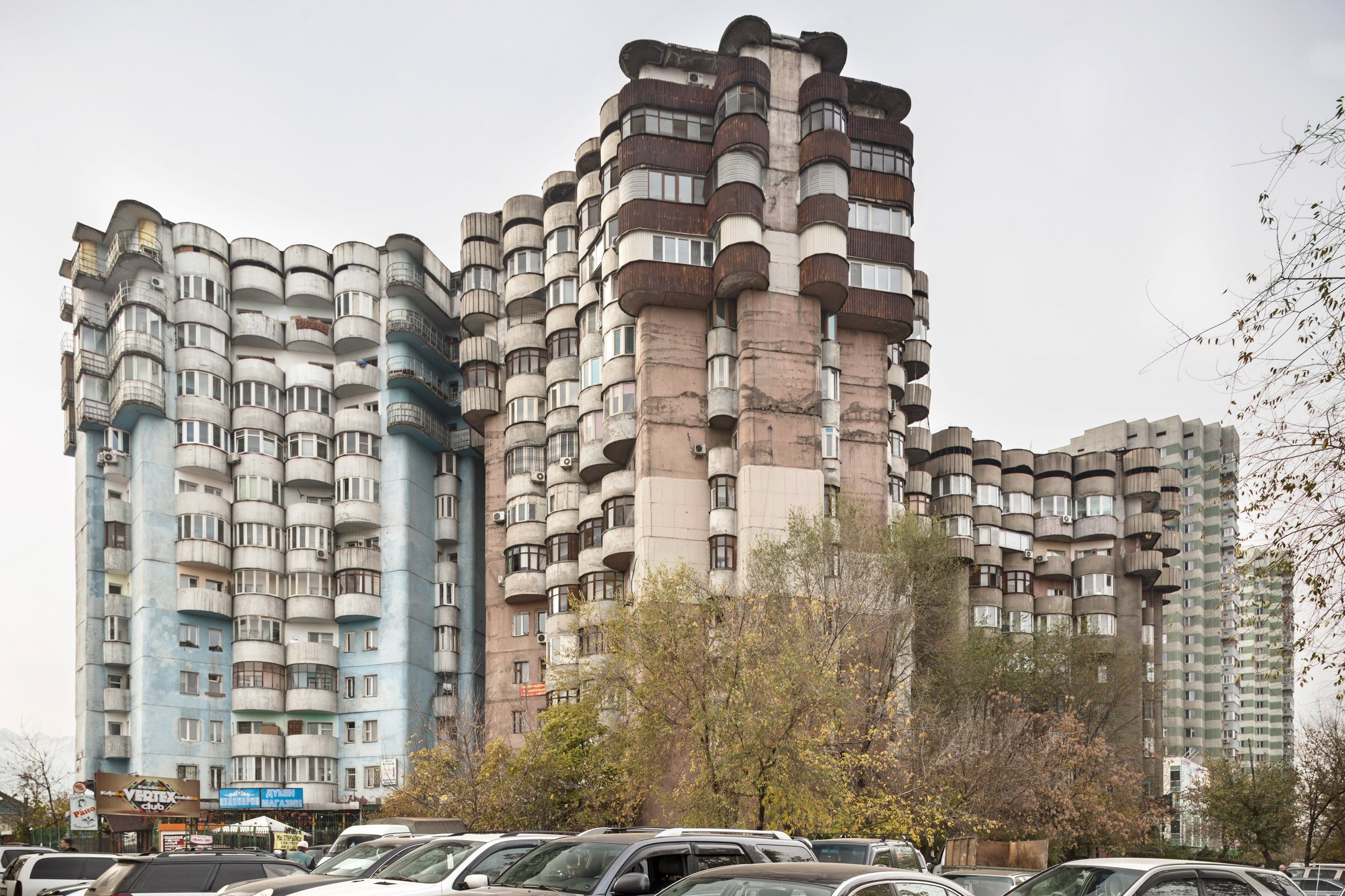 Soviet modernism combines brutalism and Eastern influences