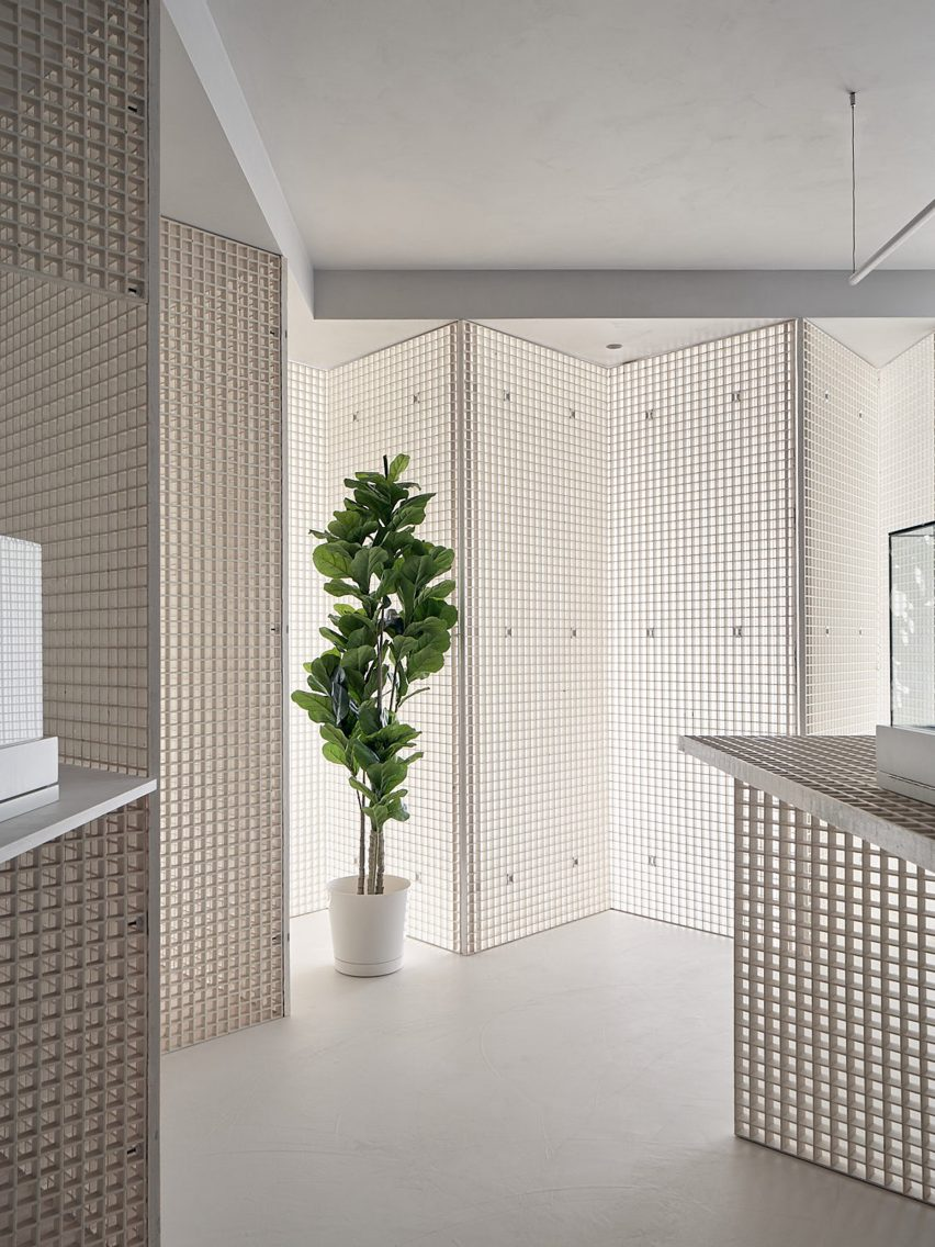 Metal grid walls in St. Clair West Edition store